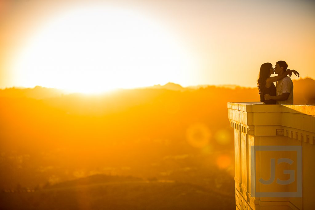 Griffith Observatory sunset engagement photo