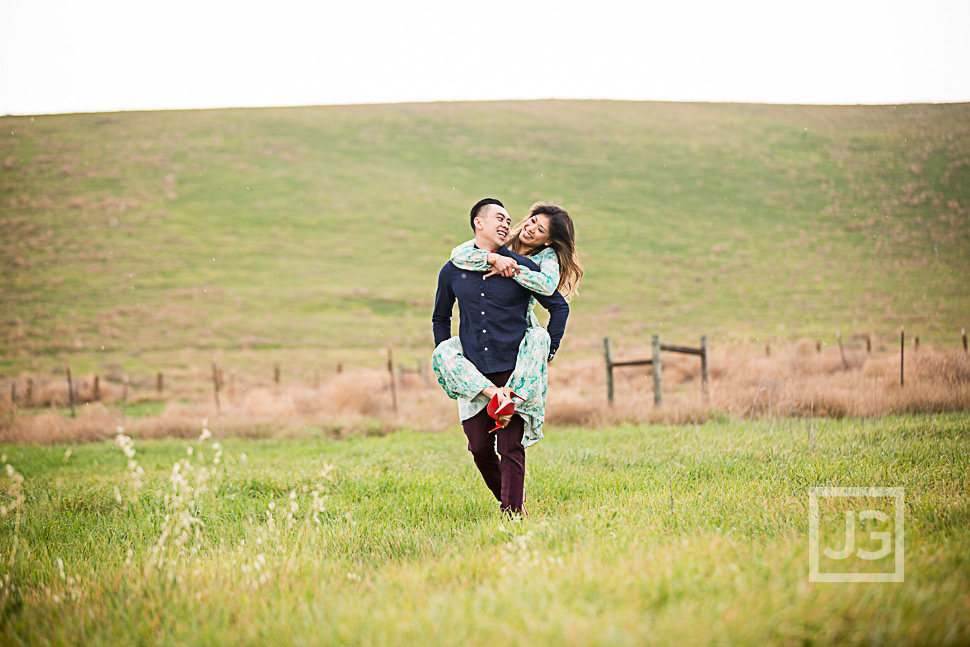Irvine Engagement Photo in a field