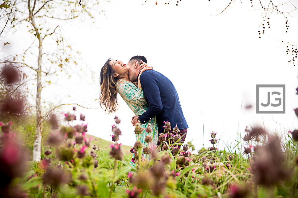Irvine Engagement Photo with Flowers