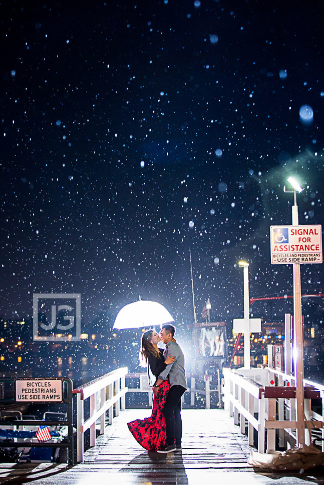 Rain Engagement Photography Newport Beach, Balboa Island