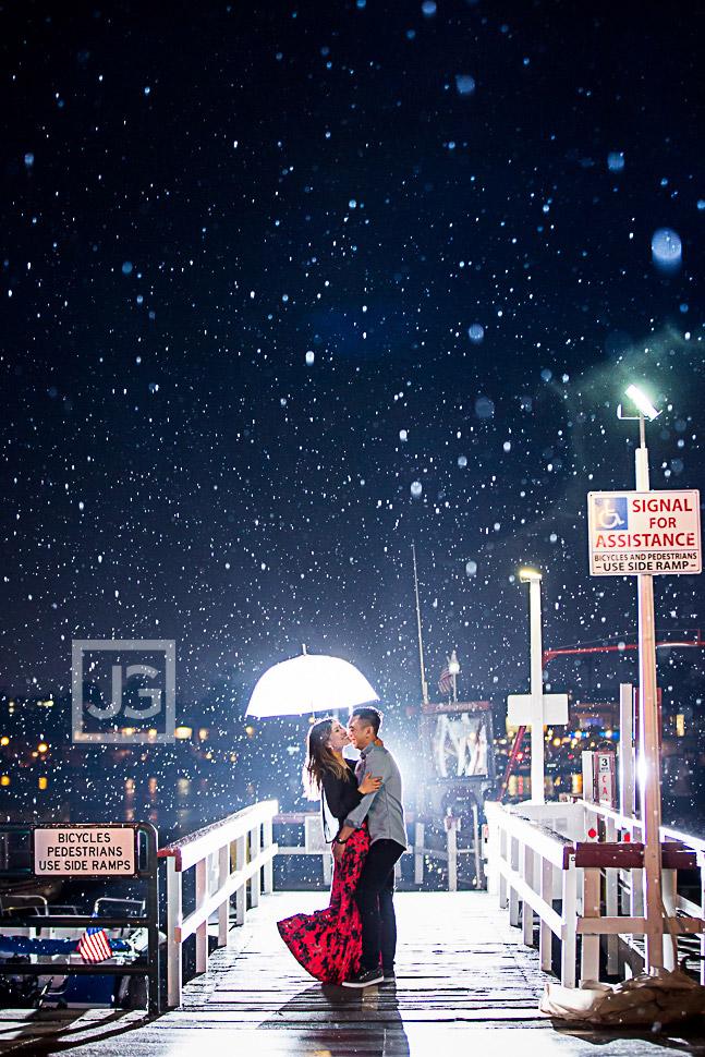 Rain Engagement Photography Newport Beach, Balboa Island