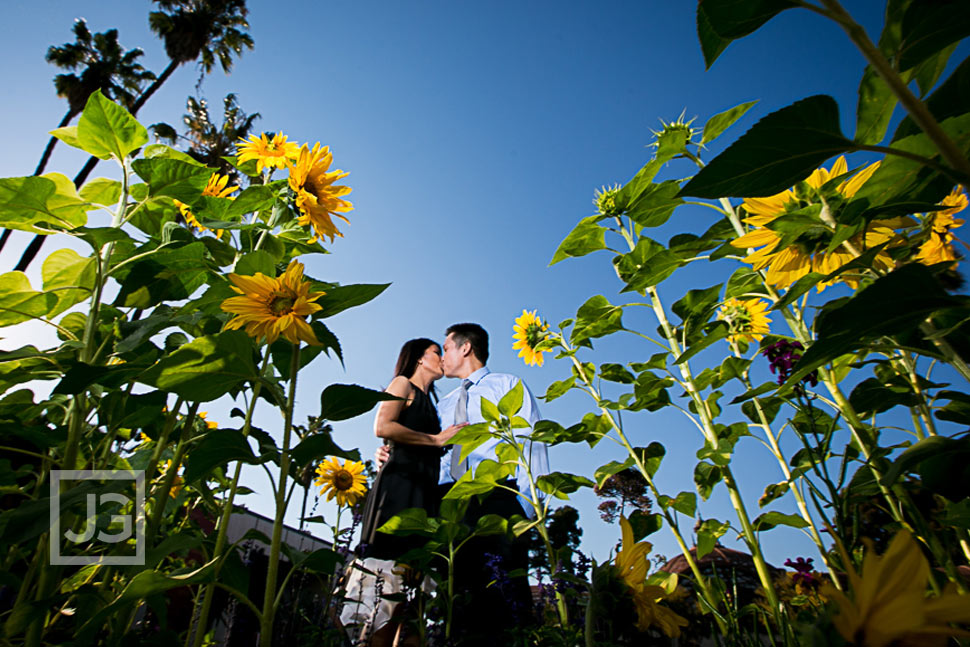 Engagement Photo in Balboa Park Flowers