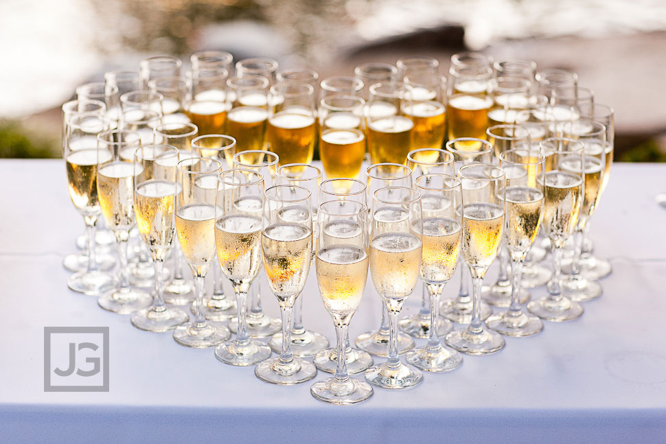CSULB Japanese Gardens Wedding Reception Champagne Glasses