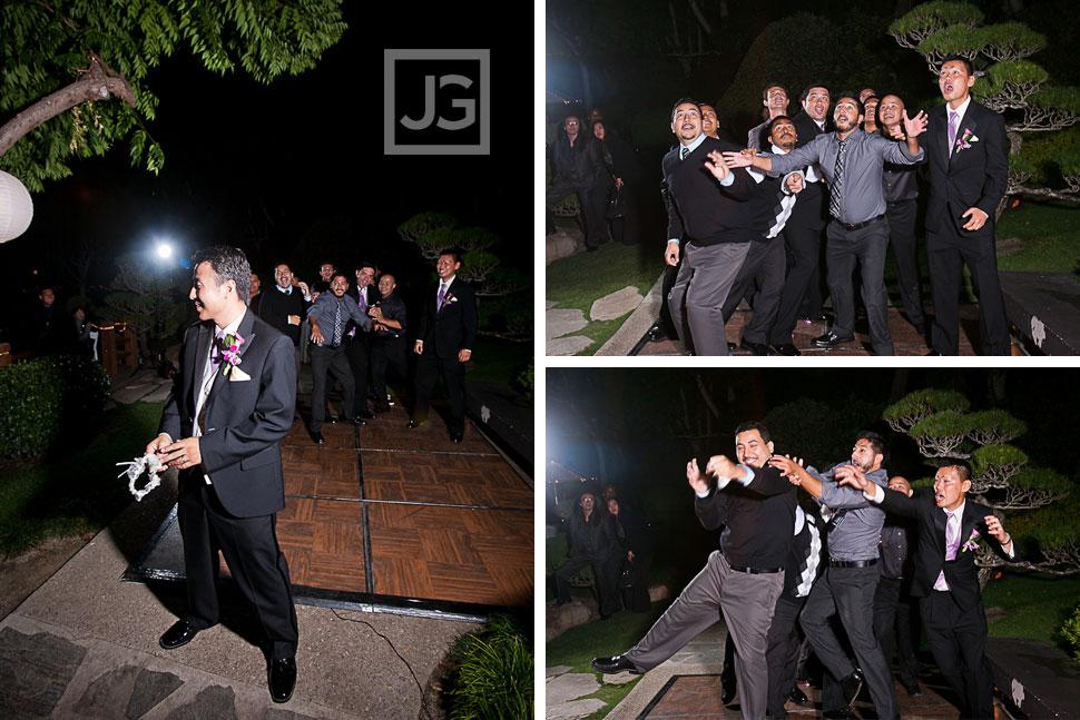 CSULB Japanese Gardens Wedding Reception Garter Toss