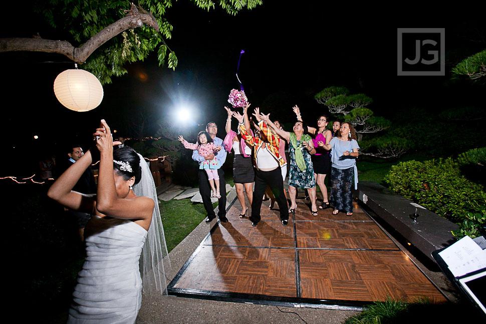 CSULB Japanese Gardens Wedding Reception Bouquet Toss