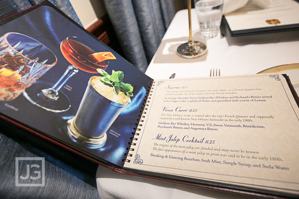 Club 33 Menu at Disneyland