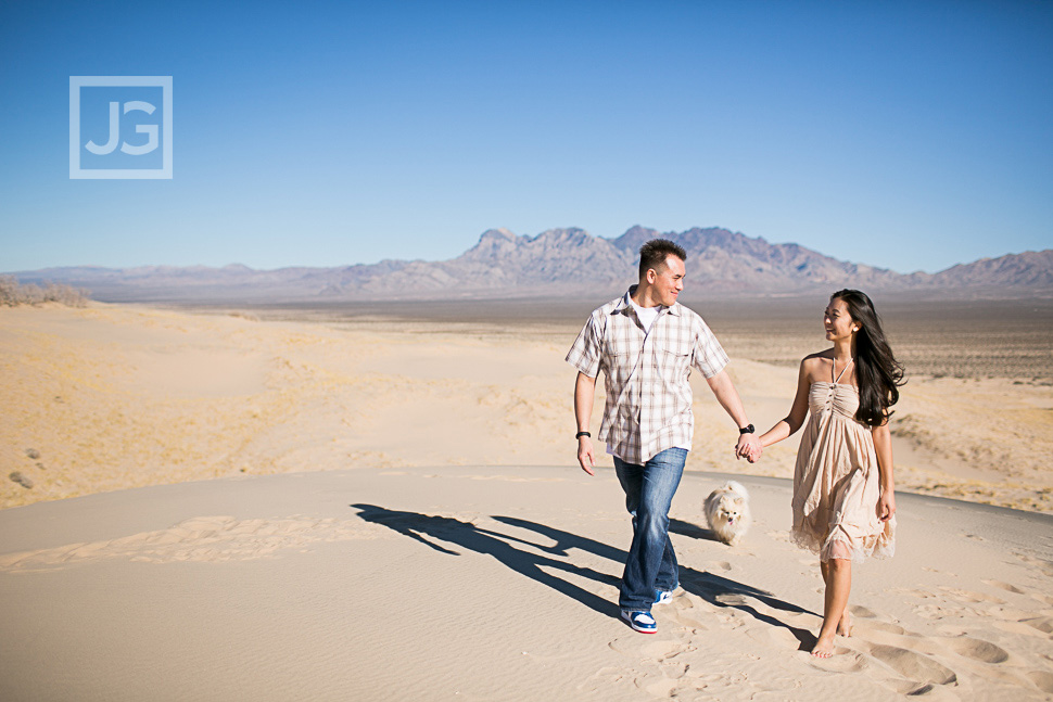 Engagement Photos in the Desert with their Dog