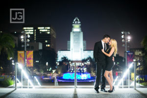 Downtown Los Angeles Engagement Photography at Night | Allison & Matt