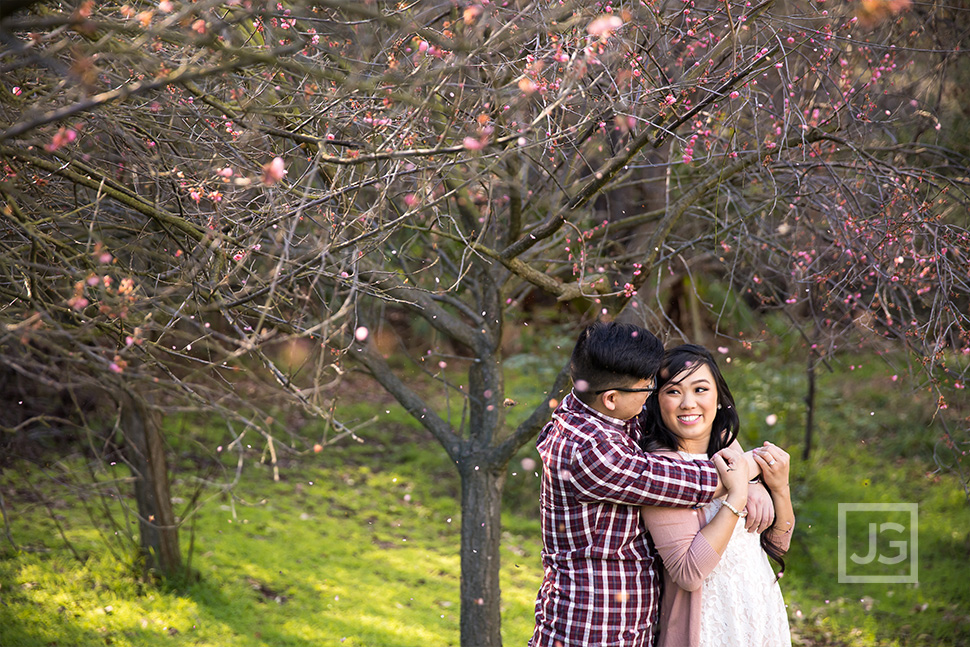Schabarum Park Cherry BLossoms Engagement Photo
