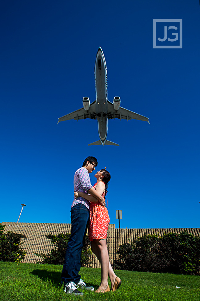 LAX Engagement Photo with jet overhead