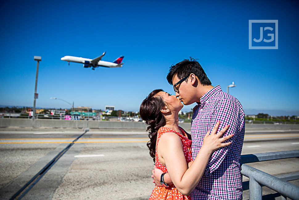 LAX Engagement Photography with plane