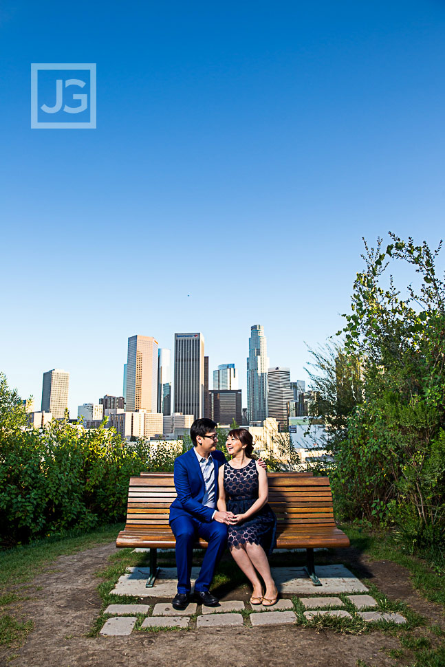 Engagement Photo LA skyline