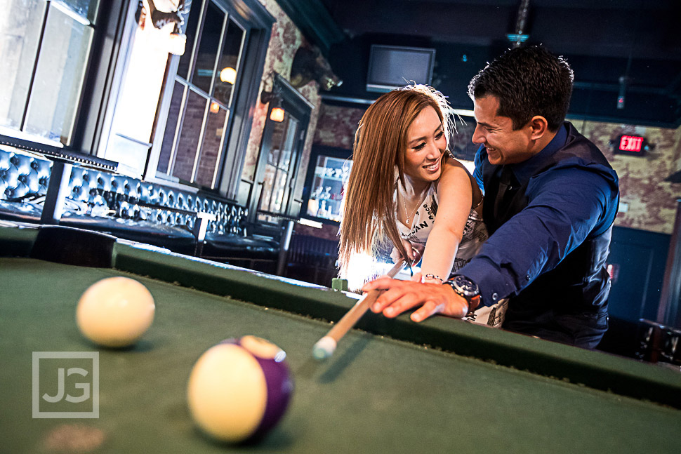 Engagement Photo with a Pool Table