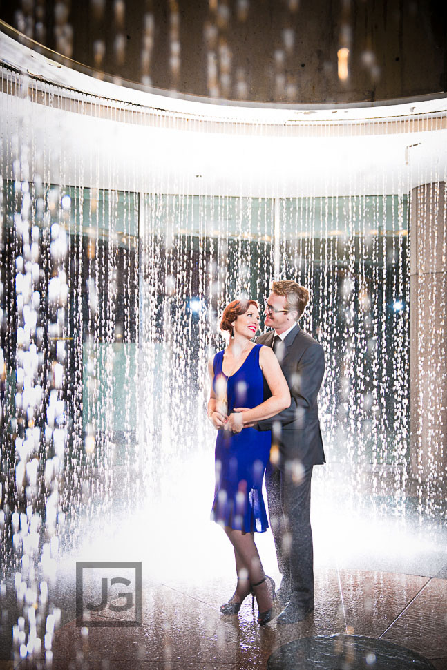 Falling Water Fountain Engagement Photography