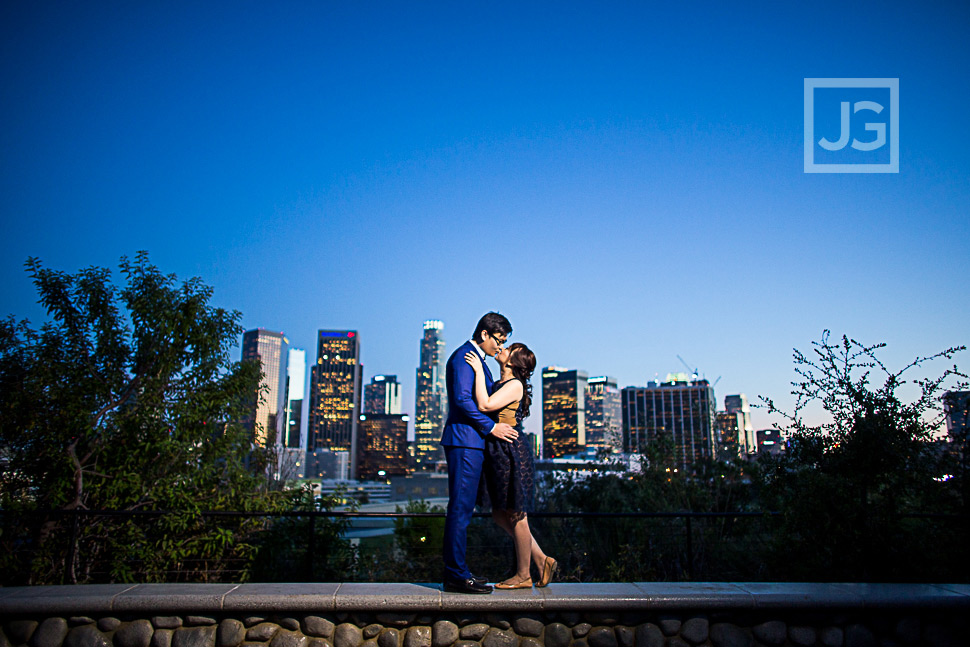 LA Skyline Engagement Photo