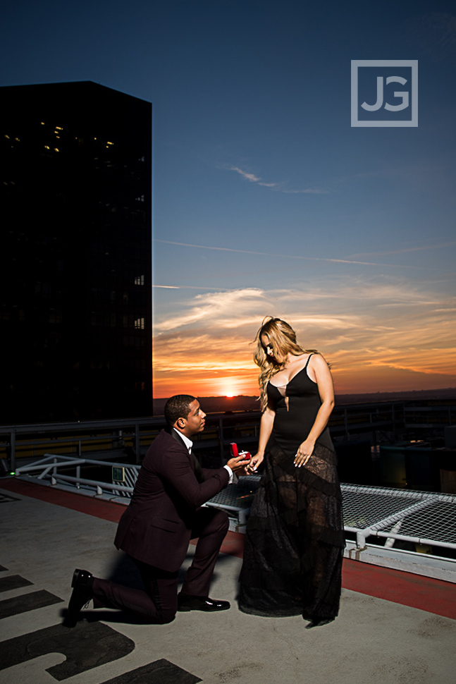 Re-enacting their proposal on the Helipad