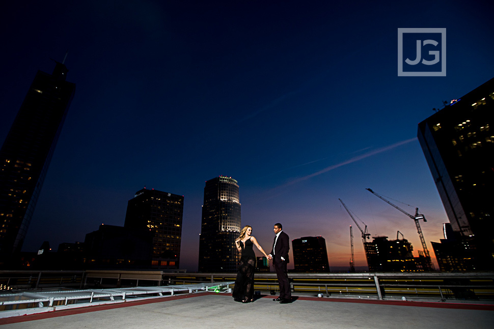 Los Angeles Rooftop Engagement Photo