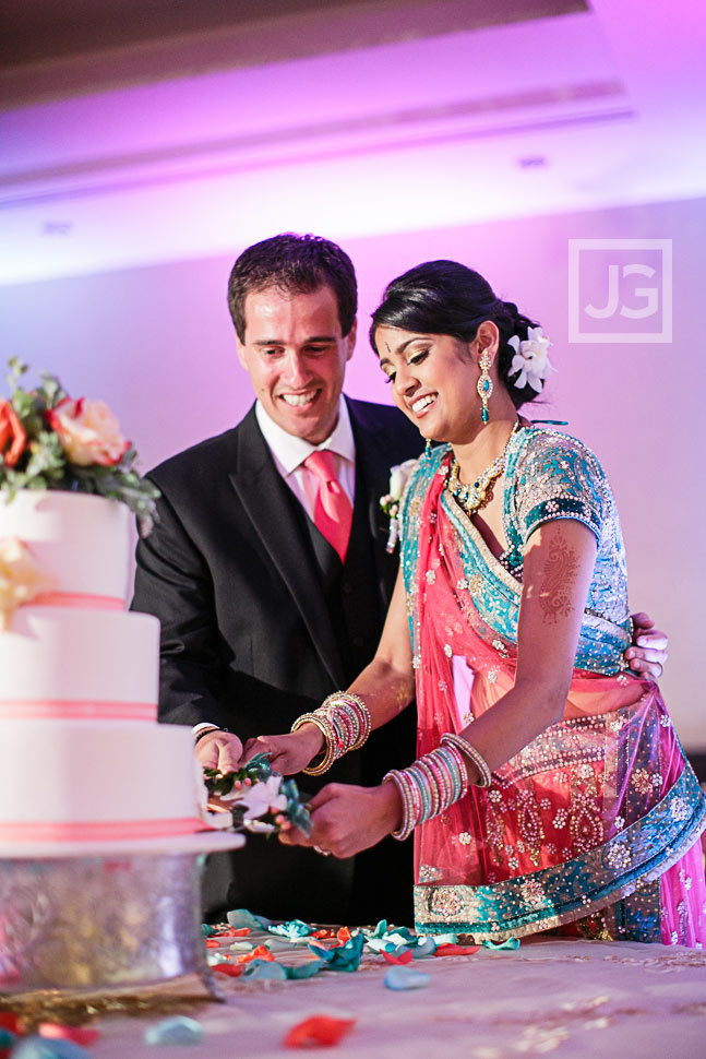 Pacific Palms Indian Wedding Reception Cake Cutting