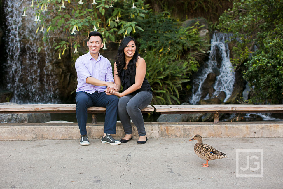 LA Arboretum Engagement Photo with duck