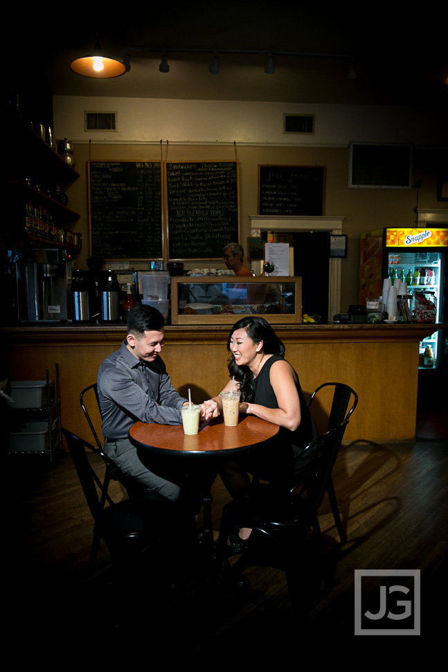 South Pasadena Engagement Photos Coffee Shop