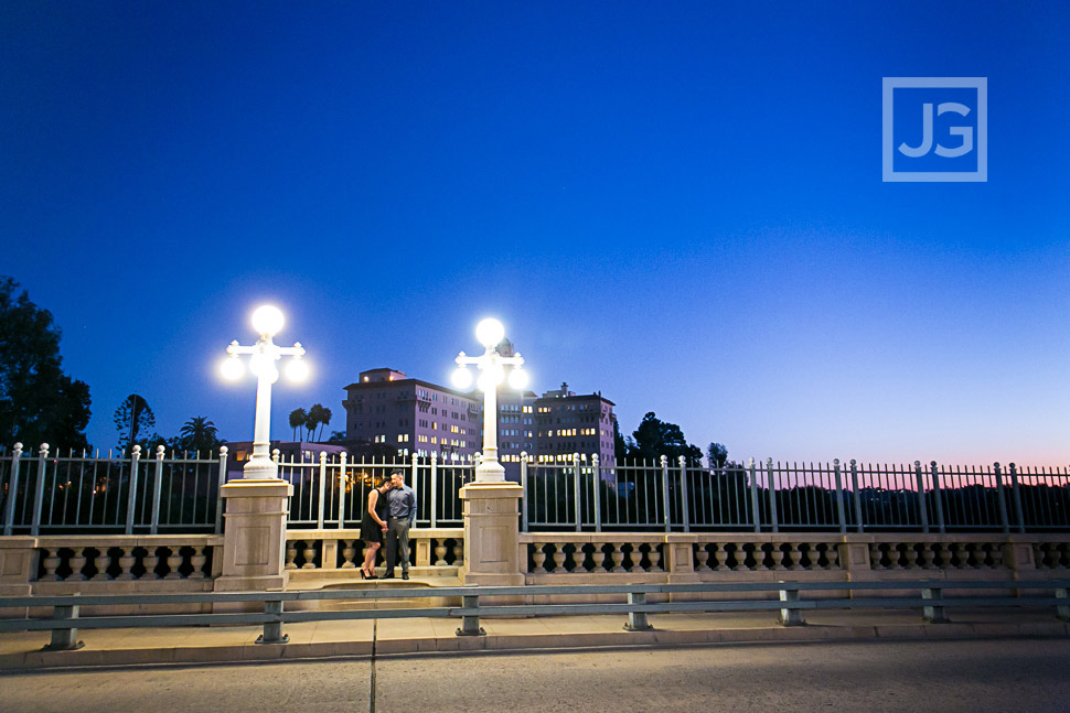 Colorado Street Bridge Engagement Photo in Pasadena