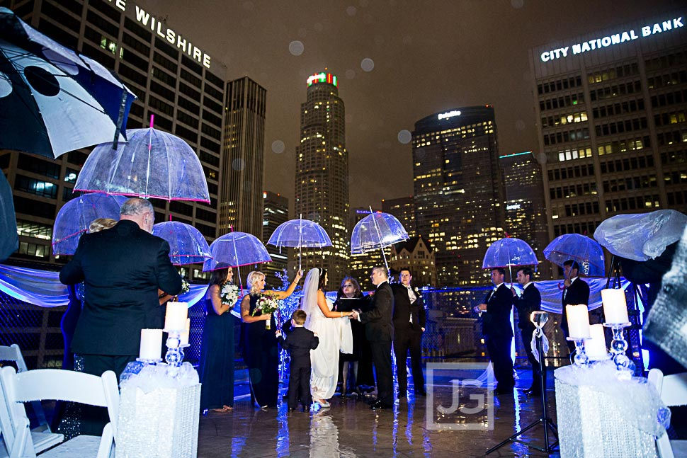 Los Angeles wedding in the rain