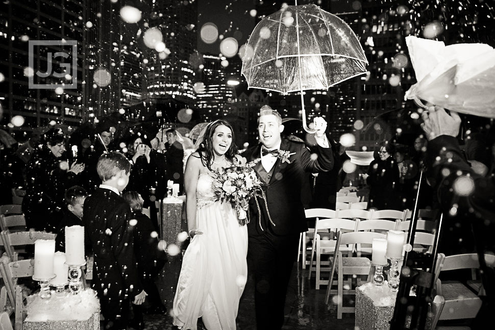 Wedding in the rain Black and White