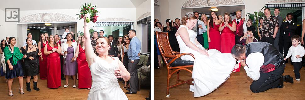 La Jolla Cove Bridge Club Wedding Reception Garter Bouquet