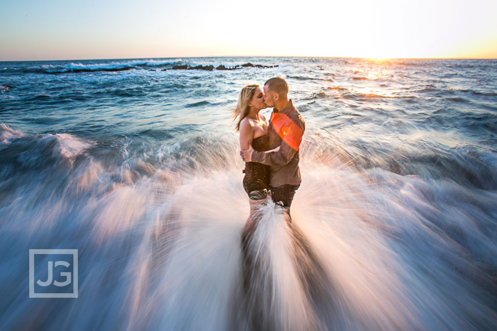 Laguna Beach Engagement Photography with waves and water