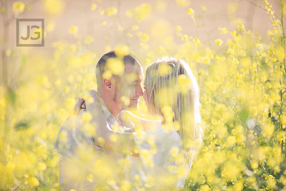 Yellow Flower Field Engagement Photos