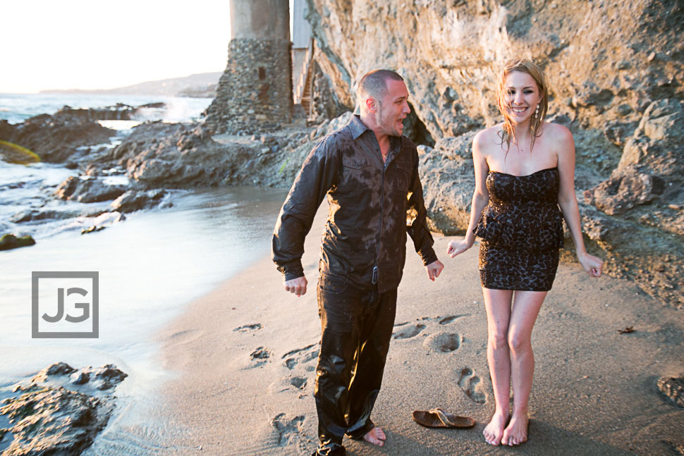 Laguna Beach Engagement Photography Soaked Wet