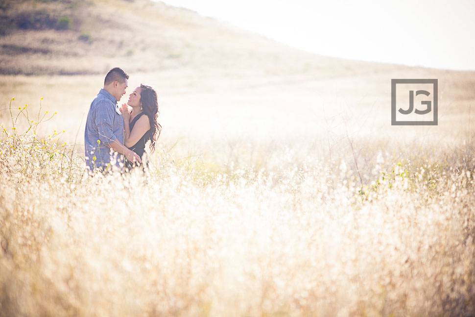 Irvine Engagement Photos in a Field