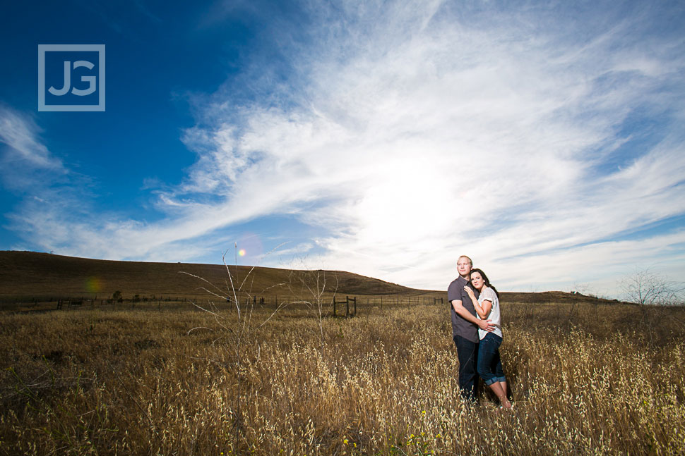 Irvine engagement photography grass field