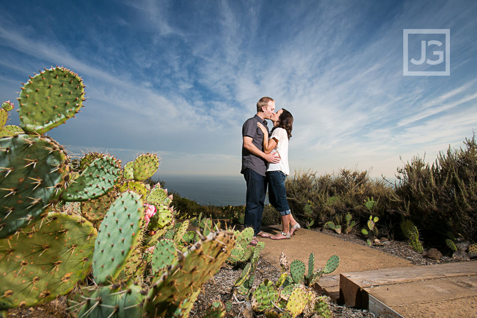 Laguna Beach Park Engagement Photos with Cactus