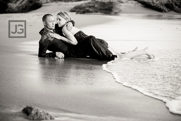 Sexy Laguna Beach Engagement Photos on the Beach Sand | Leah+Chris