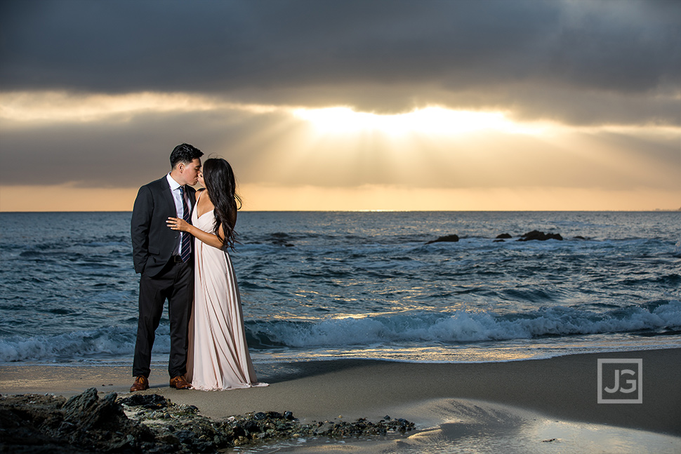 Engagement Photography Laguna Beach with Sun Streaks