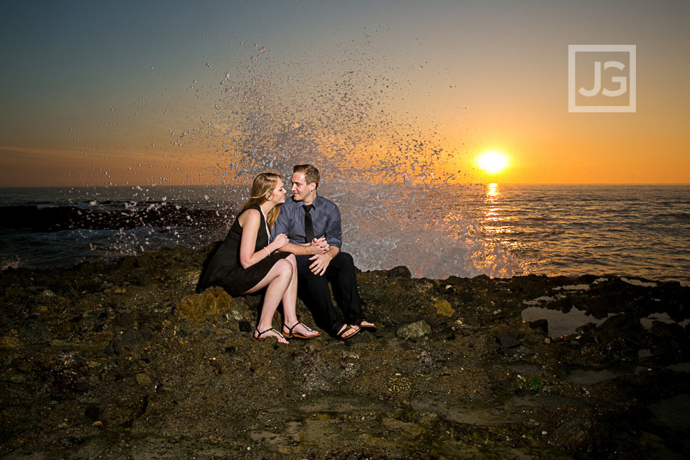Laguna Beach Engagement Photography Ocean Wave