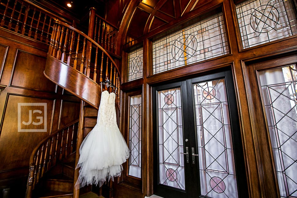 Wedding Dress with a Spiral Staircase