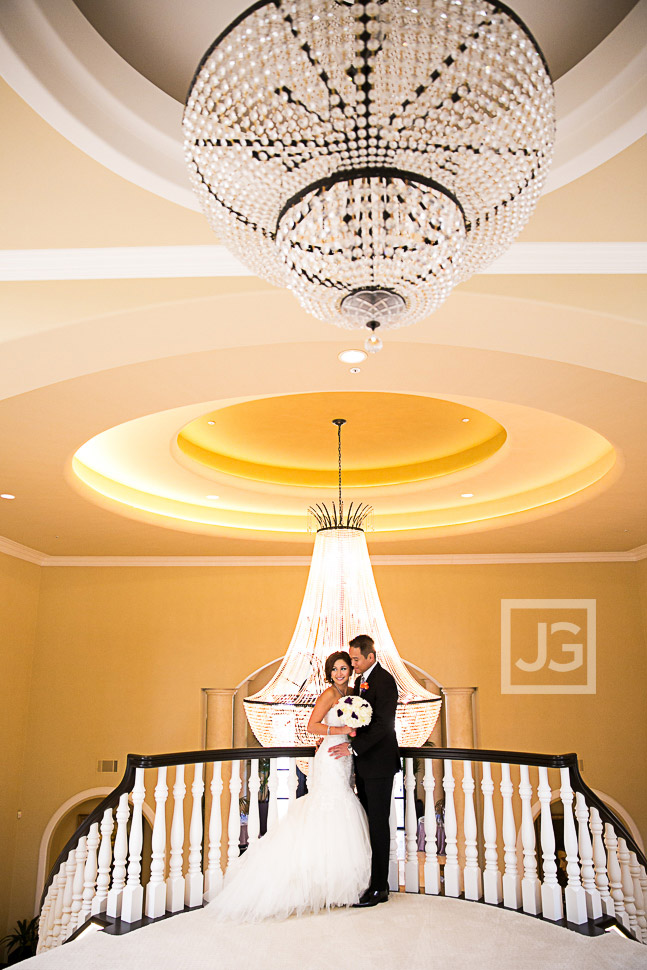 Wedding photo with the mansion chandelier