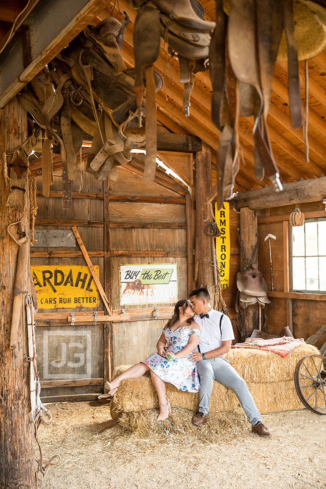 barn and hay bale engagement photography