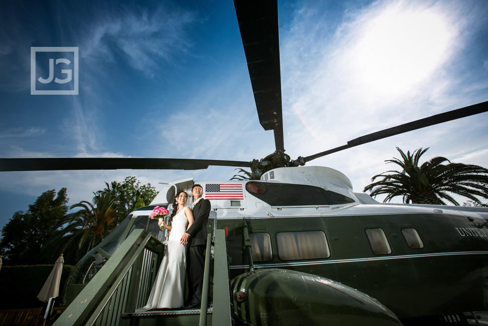 Nixon Library Wedding Photography Helicopter