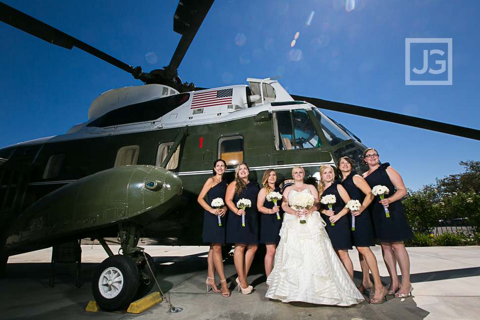 Nixon Library Wedding Photo with Helicopter