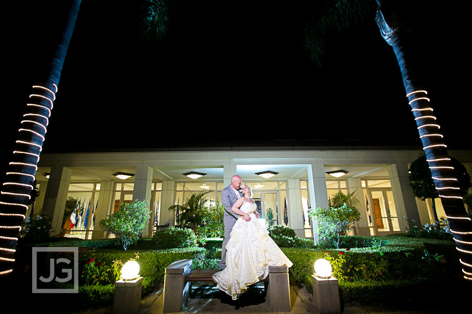 Nixon Library Wedding Photo at Night