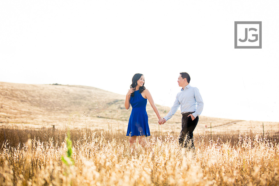 Grass Field Engagement Photos