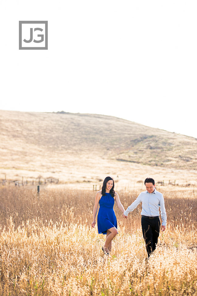 Yellow Grass Field Engagement Photos