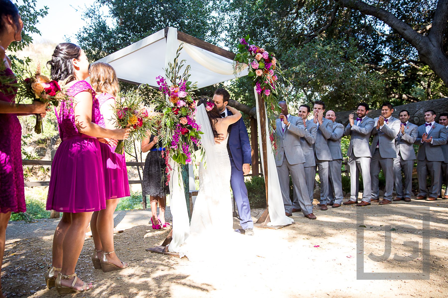 Oak Canyon Ranch Wedding Ceremony Kiss