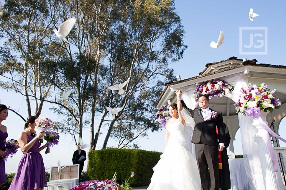 Pacific Palms Wedding Ceremony Dove Release