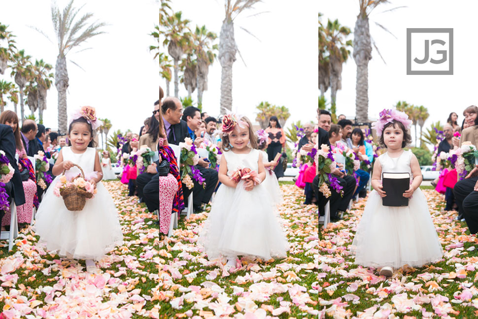 Portofino Hotel Wedding Ceremony Flower GIrls