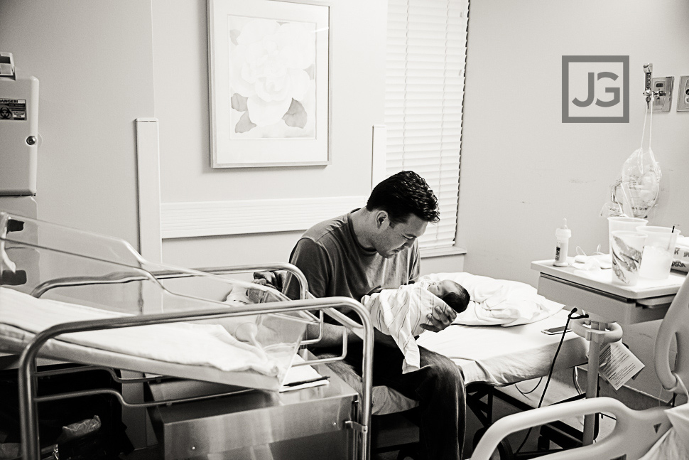 Newborn with Daddy in Hospital Room