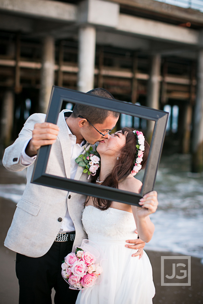 Santa Monica Pier Wedding Photo
